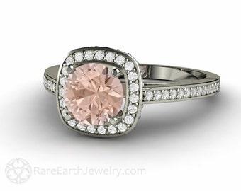 Morganite Ring Morganite Engagement Ring Diamond Halo 14K Rose Gold Custom Wedding Ring