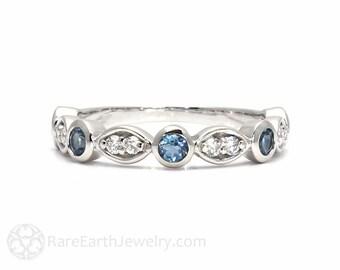 Aquamarine Ring Aqua Anniversary Band Wedding Ring Mothers Ring 14K 18K Gold March Birthstone Ring Blue Gemstone Ring Stacking Ring