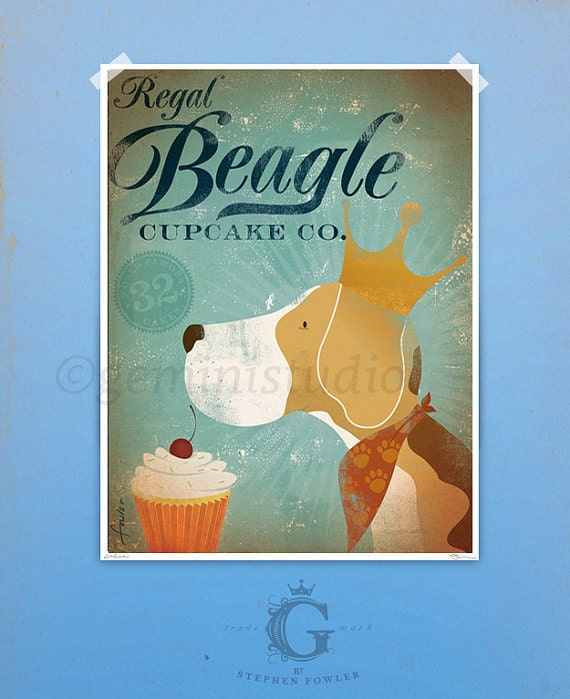 Regal Beagle Cupcake Company original illustration giclee archival signed artists print by stephen fowler Pick A Size