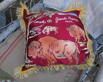 30s Buffalo pillow Western home decor Home decor Gift Vintage burgundy fringe Grand Prairie Alberta Canada Ranch decor Brown velvet satin
