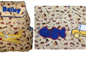 CUSTOM HANDMADE Embroidered or Applique'd TODDLER  Boys Backpack. Choose your Design and your Trim