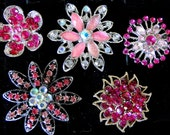 5 Jeweled Magnets. Victorian Fancy Neodymium-PINKS