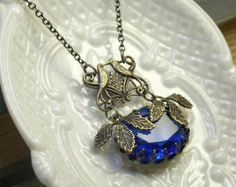 Art nouveau necklace sapphire blue vintage jewel antique brass filigree bird bridal