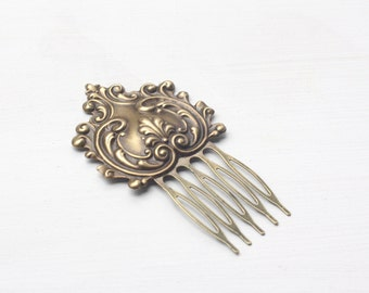 Bridal hair comb French rococo antique brass wedding hair accessory vintage style bronze romantic Marie Antoinette