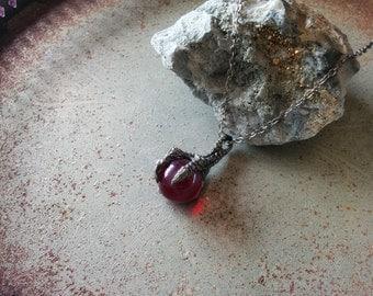 Antique silver dragon claw fantasy pendant necklace