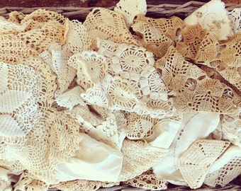 Handmade with LOVE... Thirty 30 Antique Vintage Handmade Crochet Doilies Lot Doily