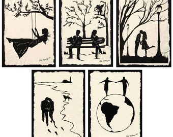 Sale 20% Off // LOVE STORY SERIES Papercuts - 5 Hand-Cut Silhouettes // Coupon Code SALE20