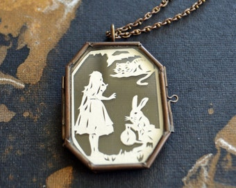 Sale 20% Off // ALICE IN WONDERLAND Locket - Hand-Cut Miniature Silhouette Papercut Necklace // Limited Edition // Coupon Code SALE20