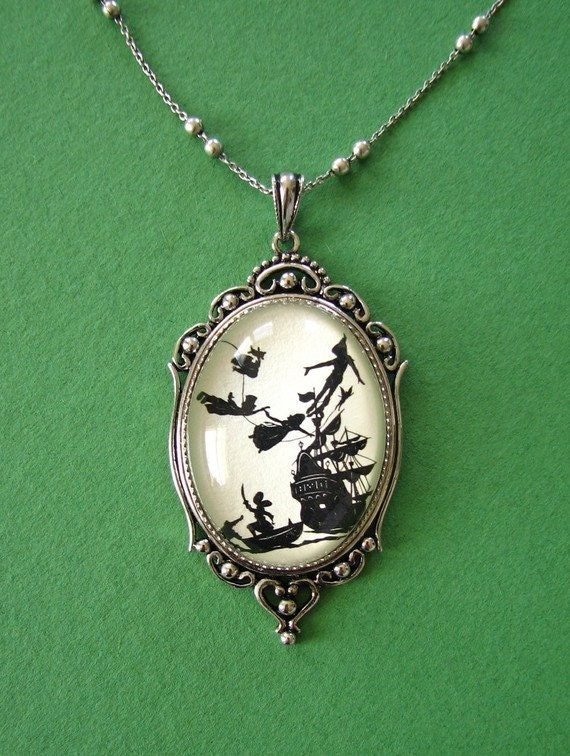 Sale 20% Off // PETER PAN Necklace - pendant on chain - Silhouette Jewelry // Coupon Code SALE20