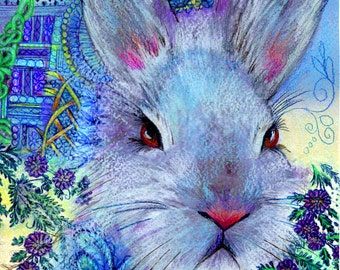original art  drawing 16x20  Hare Romantic colorful rabbit zentangle