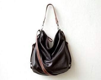 HOBO PACK in soft lightweight dark brown leather - leather crossbody bag - leather backpack - leather hobo - zip pocket - select your size