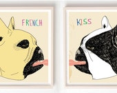 Print, Art, Illustration, French Bulldog, Kiss, Love, Dog lover, Dog art, Drawing, French Kiss- Art Prints on Paper