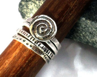 Stacking Silver Rings, Silver Handcrafted Bands-Rustic Spiral Sterling Ring-Primitive Hammered Stackable Band Ring