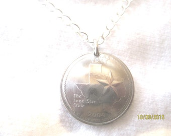 Coin Jewelry~Texas quarter necklace- free shipping