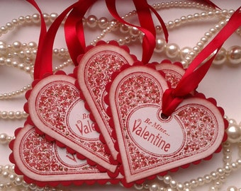 Valentines Day Heart Tags, Red Tag, Boyfriend, Husband - Set of 4