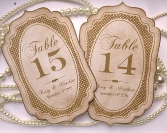 Wedding Table Numbers, Customized Table Numbers, Vintage Wedding Numbers,Gold Table Numbers,Unusual Table Numbers,Personalized Table Numbers