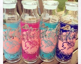 Reusable 22 oz. glass bottle with Washington, DC GYOR design