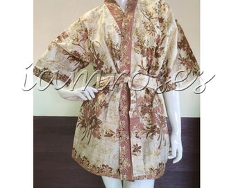 Earthy Brown Tan Flower Kimono Thai Batik Floral Short Bath Bridesmaid Resort Robe S - L (SR200)