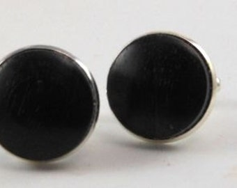 Cufflinks African Ebony Wood Stirling Silver Plated 18mm French Cufflinks handmade
