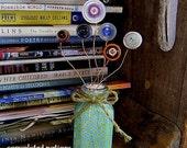 vintage button flowers handmade in green shabby chic repurposed vase