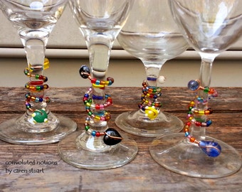 wine charms party favors one of a kind glass beaded