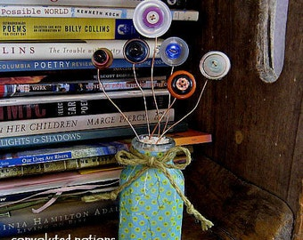 handmade button bouquet vintage button flowers in altered art upcycled green vase shabby chic home decor