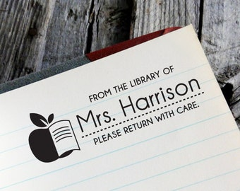 "CUSTOM LIBRARY self inking stamp with APPLE, Eco Friendly Self Inking Stamp, Library Stamper, Book Worm, Book Lover with apple ""Library7"""