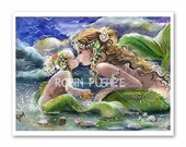 Kissing Mermaids, Mother  and Child art 12 x 16 Art PRINT from original 3 colors in stock
