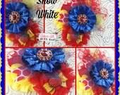 Boutique Custom Snow White inspired OTT Glamour Bloom Hair Flower clip headband