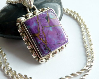 Handcrafted Purple Kingman Turquoise Sterling Silver OOAK Southwestern Bohemian Statement Gift for Her Pendant Necklace