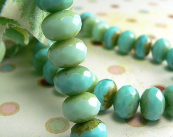 Mint Turquoise Czech Glass Beads Rondell Opaque Picasso 6x8mm Spacers Mix (25)