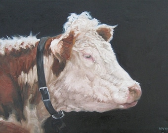 PORTRAIT of a HEREFORD original Oil Painting, Vermont country art, ARCHIVAL Print of original painting 8 by 10 and other sizes available