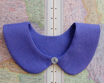 Detachable collar - Peter Pan, purple pure linen