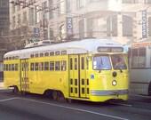 "Street Car Photography, San Francisco Print, Yellow Art Print, Street Photography, SF Trolley Photo, Living Room Wall Art - ""Yellow Bus"""
