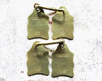 Pocket Watch Brass Number Tag Lot Antique Shield Id Claim Check Repair Fob Tags Repurpose Jewelry Art Hardware Findings