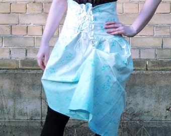 Blue skirt, light blue floral skirt, ombre high waist skirt, corset skirt with lace up detail, tie up skirt, cosplay skirt MASQ
