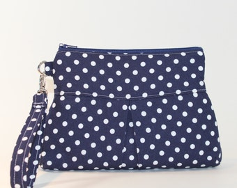 Deluxe Wristlet - Large with Pleats - Navy Dots