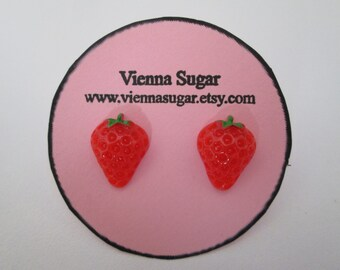 Juicy Red Resin Strawberry Fruit Pierced Stud or Non Pierce Magnetic Earrings