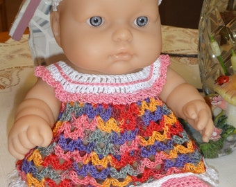 Crocheted outfit for LTL Berenguer 9.5 10 inch Lots to Love baby doll Thread Dress Set Ribbon Rose