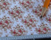 Dollhouse Miniature Shabby Chic UPHOLSTERY FABRIC Country Rose Bouquet on White 1/12th