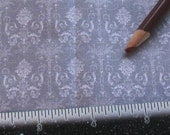 Dollhouse Miniature UPHOLSTERY Doll Apparel FABRIC Victorian Bouquet Damask White on Grey