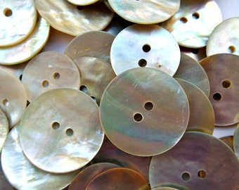 50 shell buttons, MOP buttons, mother of pearl assorted sizes natural colors, most of them are vintage