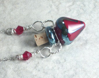 Elemental Fire --- Tiny Lampwork Poison Bottle Necklace