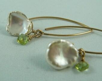 Gold Filled Keishi Pearl with Peridot Earrings