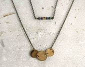 Brass layering necklaces set of 2, purple and gold, full moon necklace, galaxy, moon phases, minimal, MADE TO ORDER