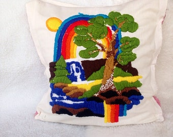 Vintage crewel rainbow waterfall tree wall hanging or pillow embroidery retro