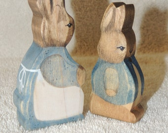 Beatrix Potter's Mrs Rabbit and Peter Rabbit wooden play toys