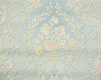 1940s Vintage Wallpaper by the Yard - Pretty Damask with Pink and Yellow Flowers on Blue