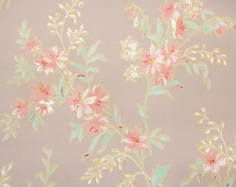 1920s Vintage Wallpaper by the Yard - Antique Floral with Pink Flowers