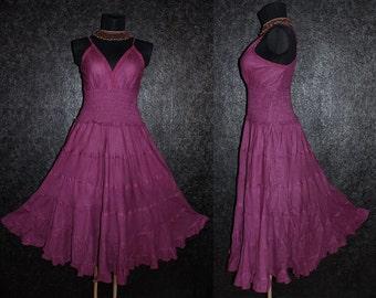 Long Purple GYPSY PRINCESS Smock Maxi Dress Hippie Boho Size 10 12 14